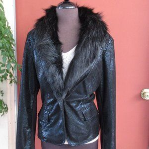 Chico's Black Blazer W/Removable Faux Fur Collar L